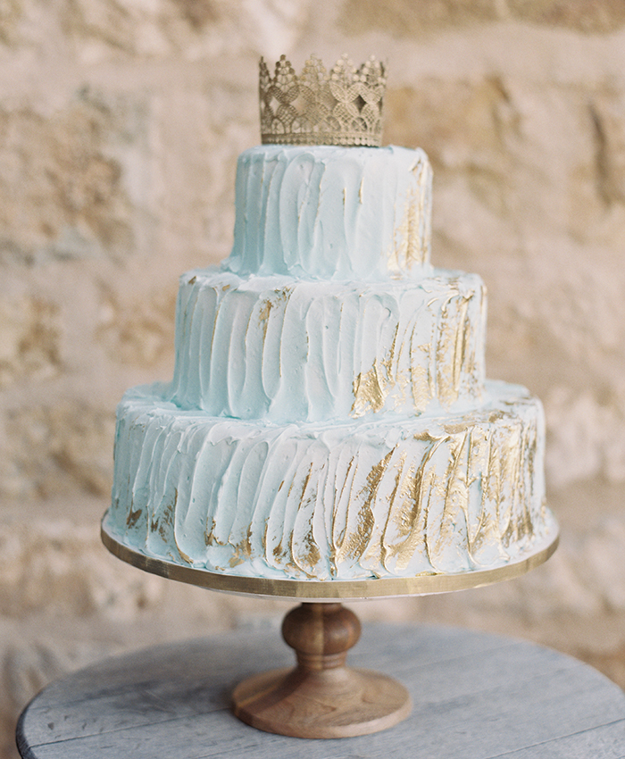 Blue and gold wedding cake by Decadence Cakes