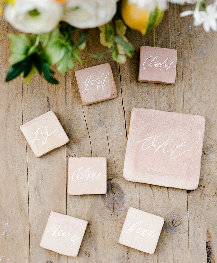 stone tile place cards