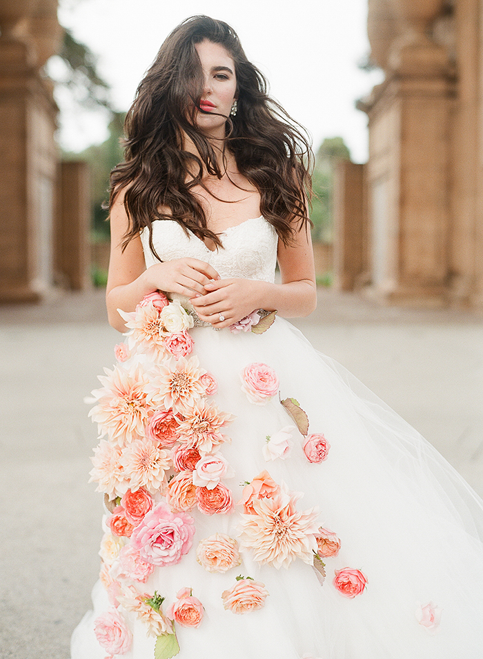Floral Wedding Dress Lace & Bustle Bridal