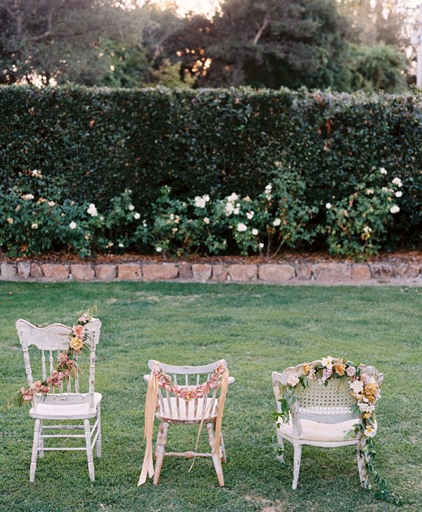 Chair Flower Garland DIY - photo © Leo Patrone
