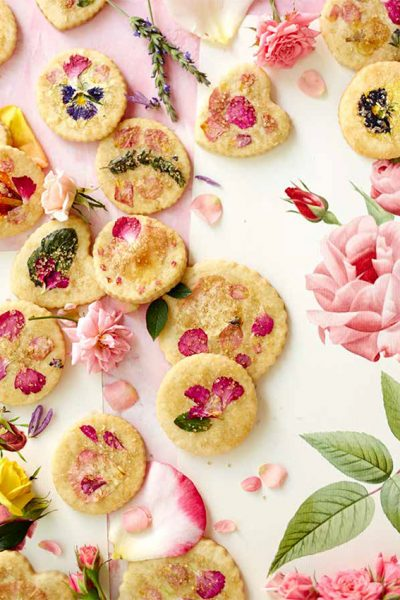 Sugar Cookies with Edible Flowers