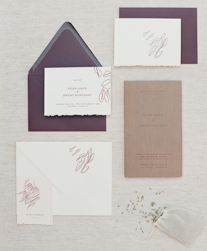 alissa bell press purple wedding invitation