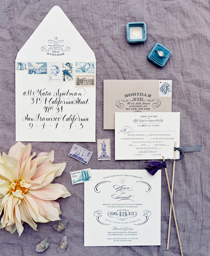 beaulieu garden napa wedding invitation
