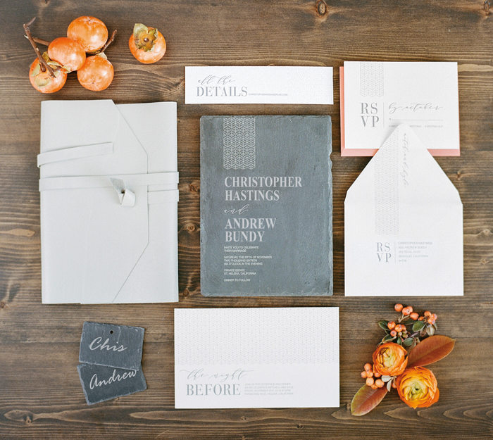 same sex slate gray wedding invitation