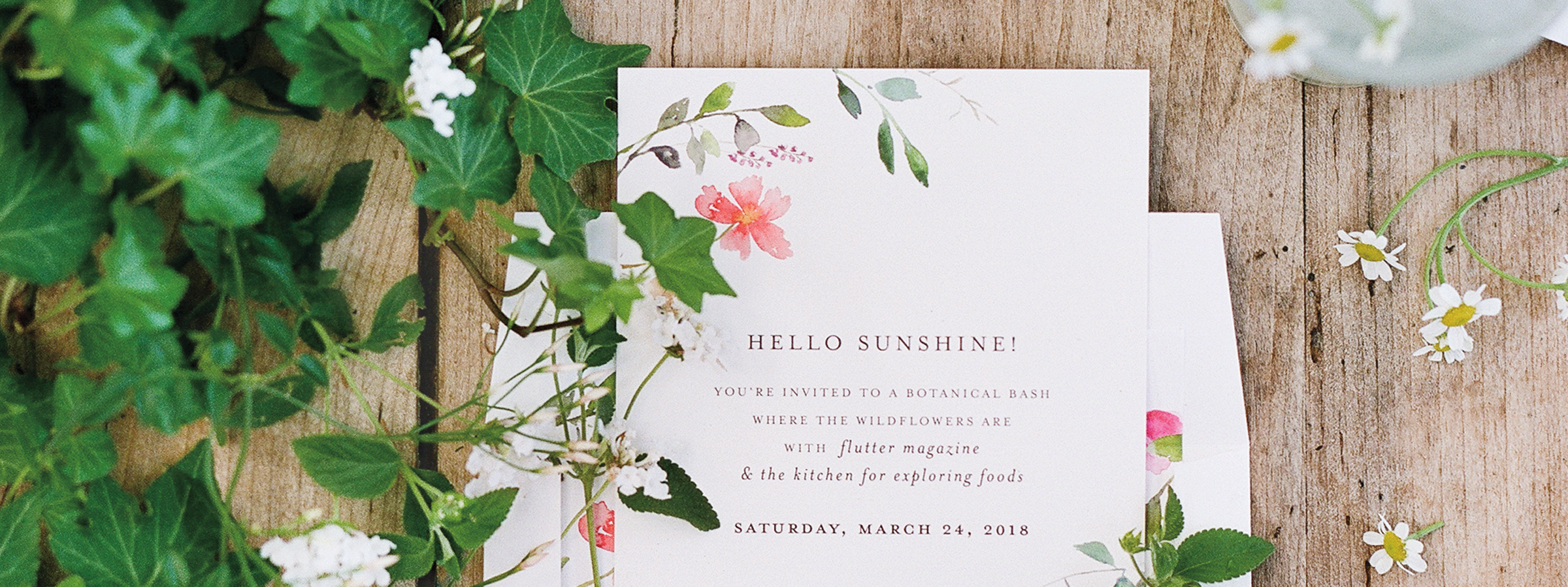 flutter magazine issue 16 – floral party invitations from minted