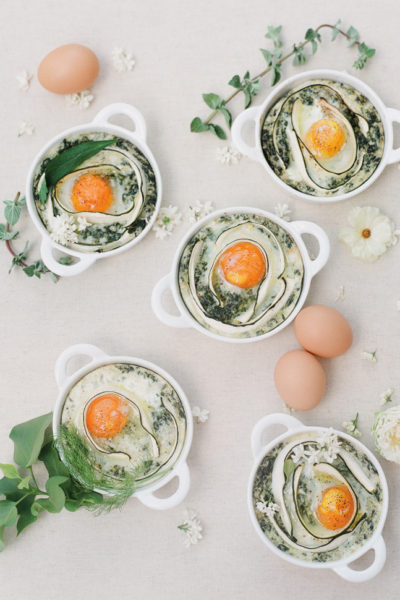 Summer Brunch: Baked Eggs with Zucchini Ribbons