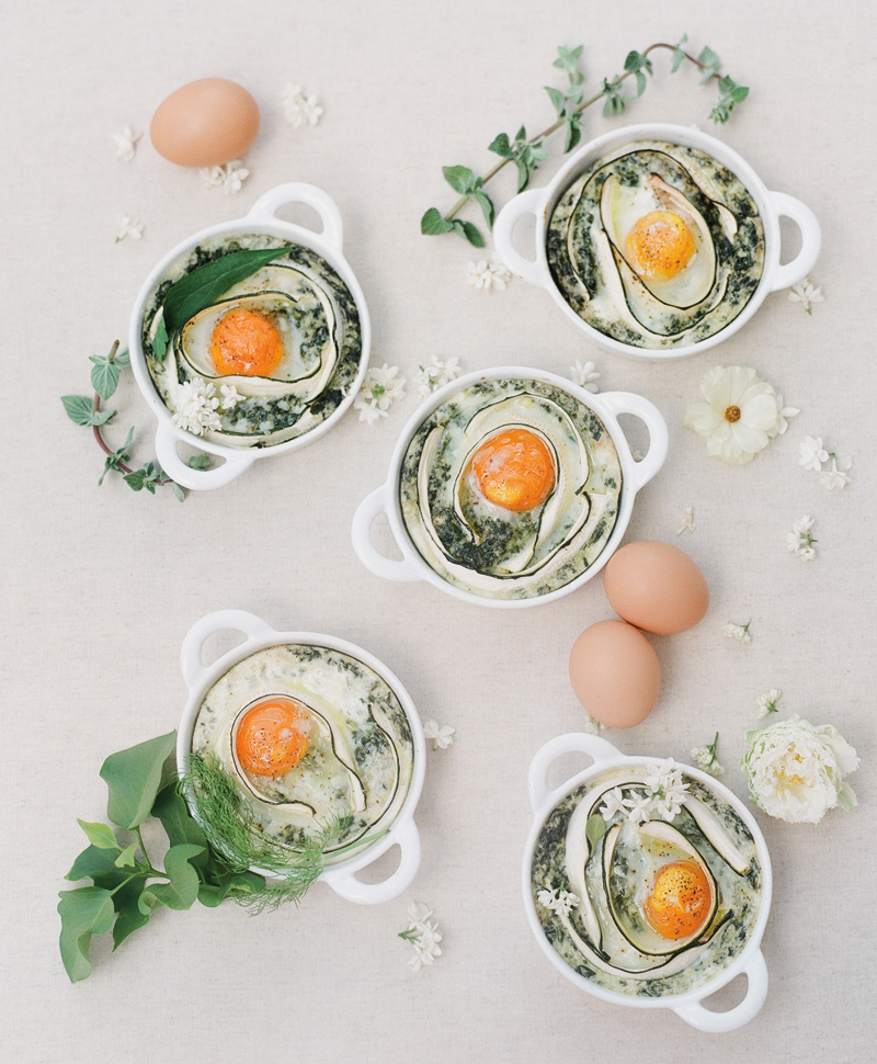 Flutter Magazine Issue 17 - brunch recipe baked eggs with zucchini ribbons