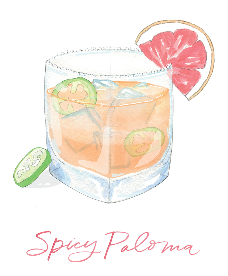 Flutter Magazine spicy paloma cocktail recipe - illustration by Sara Fitz