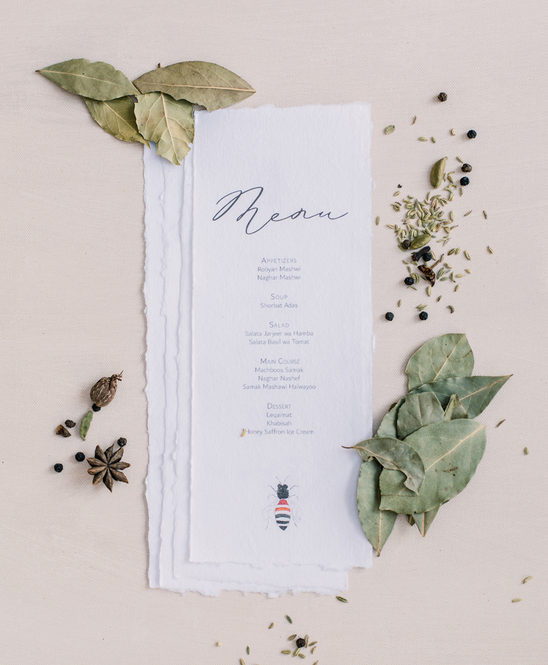 Dubai wedding stationery dinner menu
