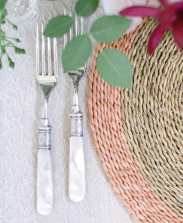 Woven Blush Trim Placemat Round