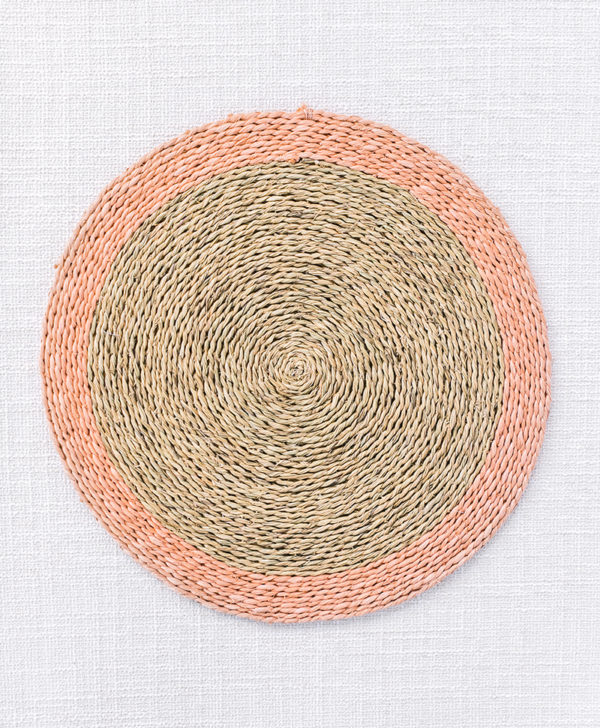 natural woven blush trim placemat