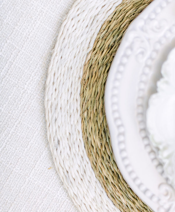 Woven White Trim Placemat Round