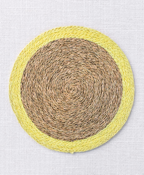 natural woven yellow trim placemat