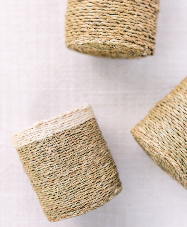 natural woven flower container